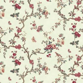 Elanbach -  Peacock Tree Fabric Collection - Vintage style floral fabric with a rose, branch, bird and butterfly print