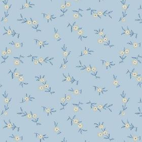 Elanbach -  Rilly and Palmyra Fabric Collection - Small individual white flowers with denim blue coloured leaves on a background of baby blue fabric