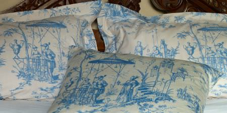 Elanbach -  Top Toiles Fabric Collection - Chinese style cushion and pillow covers featuring day-to-day scenes in blue and white