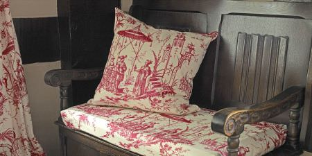 Elanbach -  Top Toiles Fabric Collection - Solid dark wood carved bench with red and cream Chinese style seat cushion, scatter cushion and curtains