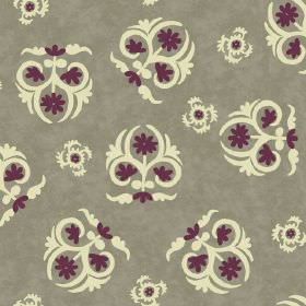 Elanbach -  Yelena Fabric Collection - Separate cream and purple flower and swirl shapes scattered over green-grey fabric