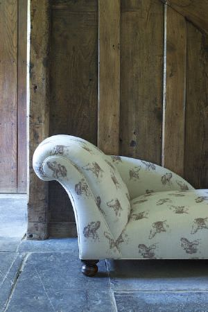 Emily Bond -  Dogs Fabric Collection - Tiny chaise longue in cream, with a pattern of shaded brown portraits of dogs