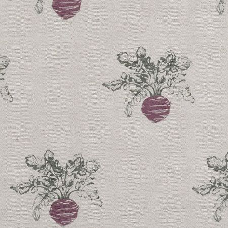 Emily Bond -  Vegetables And Fruit Fabric Collection - Turnip print fabric, with a simple maroon and dark green design against apale grey coloured fabric background