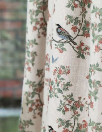 Emily Burningham -  Emily Burningham Fabric Collection - Curtain with cream background with dusty pink flowers, leaves in shades of grey and bullfinches perched on branches.