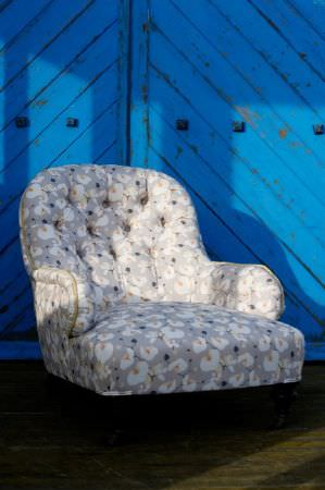 Emily Burningham -  Emily Burningham Fabric Collection - Occasional chair inlight grey with mottled effect flowers.