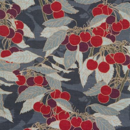 Emily Burningham -  Emily Burningham Fabric Collection - Dark grey fabric decorated with a pattern of bright red cherries with grey leaves on light grey branches