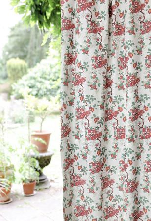 Emily Burningham -  Emily Burningham Fabric Collection - Modern curtain dyed in white decorated with an interesting pattern of vibrant red flowers and green leaves