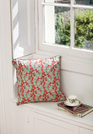 Emily Burningham -  Emily Burningham Fabric Collection - Cushion with red and green mottled pattern and white dot effect and piped edging.