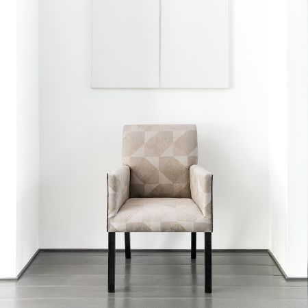 Fibre Naturelle -  Arizona Fabric Collection - Modern armchair dyed in light beige decorated with interesting geometric pattern in dark beige