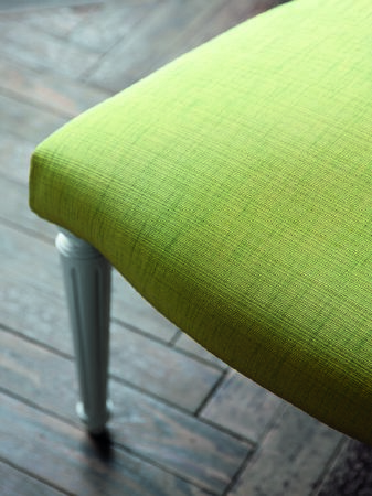 Fibre Naturelle -  Aspen Fabric Collection - Footstool in Spring green fabric with slight slubbed effect.