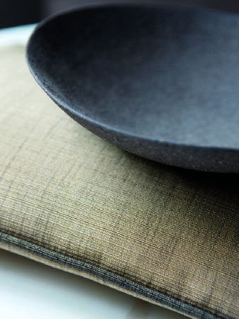 Fibre Naturelle -  Aspen Fabric Collection - Cushion in dusty yellow and blue-grey slubbed effect, edged with blue-grey piping.