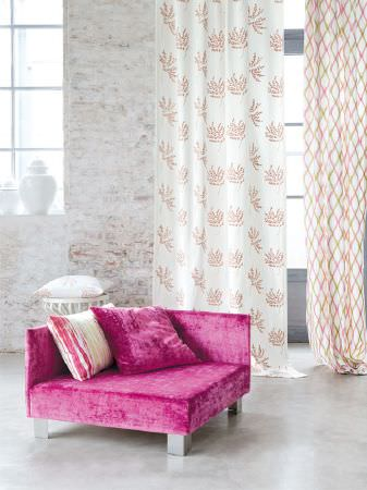 Fibre Naturelle -  Botanics Fabric Collection - Low square cerise velous armchair with pink and white cushions and two different pink, green and white patterned curtains