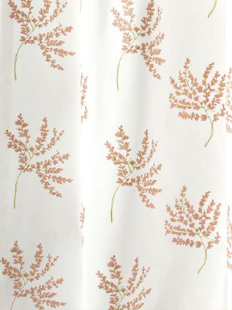 Fibre Naturelle -  Botanics Fabric Collection - Draped fabric made in white with a repeated pattern of simple, fun trees in bright shades of green and pink