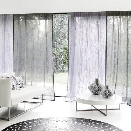 Fibre Naturelle -  Breeze Fabric Collection - Breeze fabric collection featuring white and grey transparent curtains with edges in black