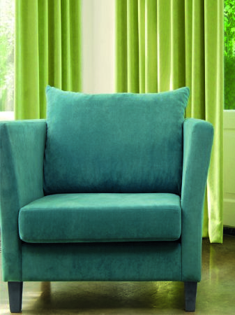 Fibre Naturelle -  Eden Fabric Collection - Blue suede effect armchair with pale green curtains