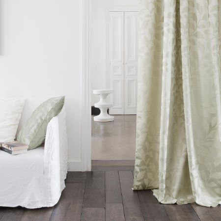Fibre Naturelle -  Epsom Fabric Collection - White sofa cover, a set of white and light green cushions and beige curtain with matching designs