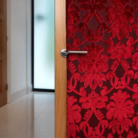 Fibre Naturelle -  Ferrara Fabric Collection - Dark red fabric decorated with vibrant red velvet floral pattern belonging to the Ferrara Fabric Collection
