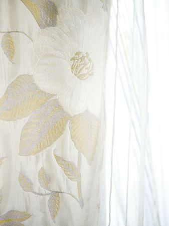 Fibre Naturelle -  Florence Fabric Collection - Off-white and gold large floral print fabric