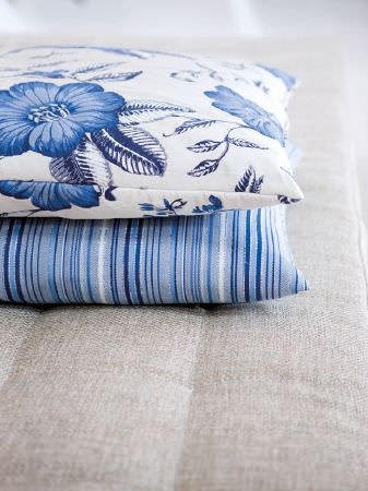 Fibre Naturelle -  Florence Fabric Collection - Beige seat with two blue and white striped and floral cushions