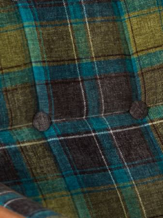 Fibre Naturelle -  Glencoe Fabric Collection - Seat back made from checked fabric in shades of teal, turquoise and olive green, with buttons covered in the same fabric
