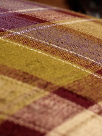 Fibre Naturelle -  Glencoe Fabric Collection - Deep purple, olive green and cream coloured checked fabric