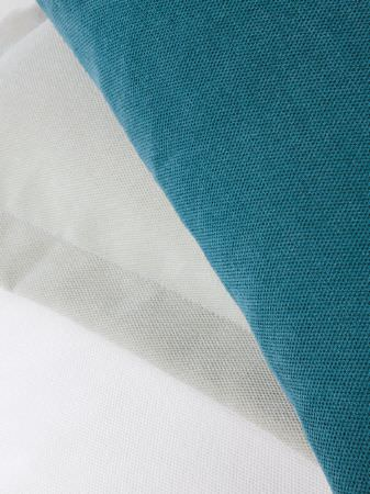 Fibre Naturelle -  Heritage Fabric Collection - Thick blue-green fabric with white and grey striped fabric