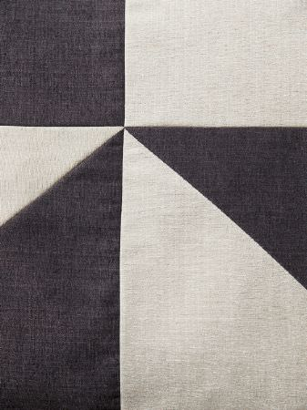 Fibre Naturelle -  Madison Fabric Collection - Large triangle shapes made from plain charcoal and pale grey-white fabrics stitched together into a geometric style design