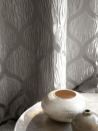 Fibre Naturelle -  Metalix Fabric Collection - Silver-grey textured, patterned fabric, with a round, silver tray and two small round vases