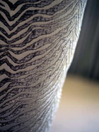 Fibre Naturelle -  Milano Fabric Collection - Cream and textured silver animal stripe fabric