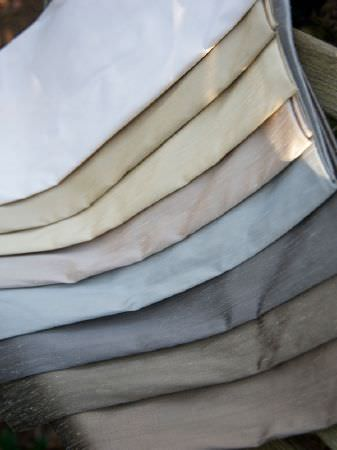 Fibre Naturelle -  Mistral Fabric Collection - Seven different plain fabrics: white, champagne, cream, pink, two shades of blue, steel grey and coffee colours