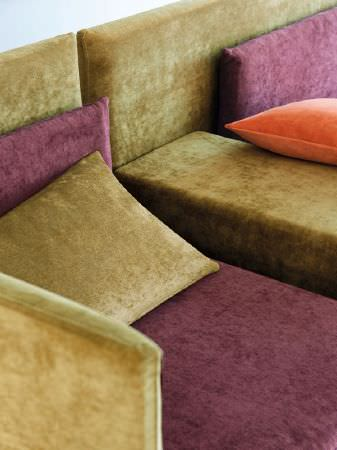 Fibre Naturelle -  Monza Fabric Collection - Green and purple sofa and cushions, plus an orange scatter cushion
