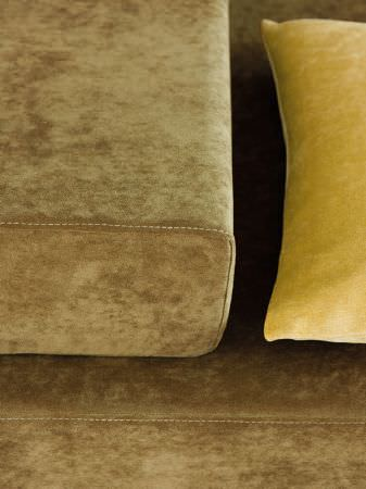 Fibre Naturelle -  Monza Fabric Collection - Olive green square sofa and armrest, with a mustard yellow scatter cushion