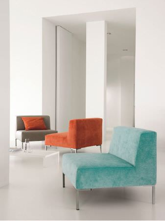 Fibre Naturelle -  Monza Fabric Collection - Stone, burnt orange and aqua suede effect sofas, with a rectangular orange cushion and a low white coffee table