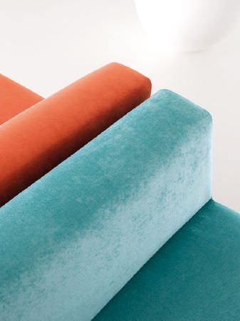 Fibre Naturelle -  Monza Fabric Collection - Burnt orange and aqua suede effect chairs with armrests