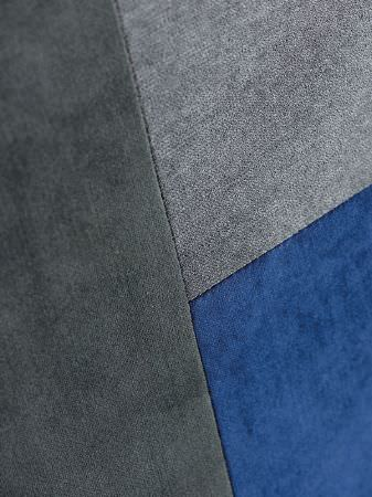 Fibre Naturelle -  Monza Fabric Collection - Dark grey, steel grey and royal blue patchwork