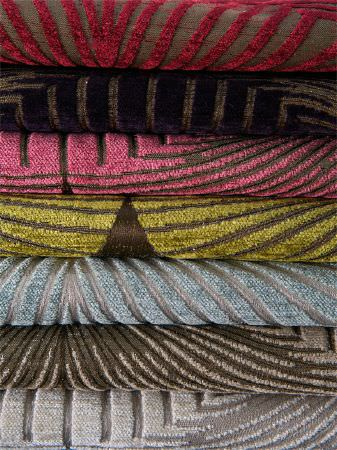 Fibre Naturelle -  New York Fabric Collection - Textured fabrics in brown and red, brown and purple, brown and pink, brown and green, silver and blue, brown and beige, and silver and grey