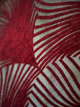 Fibre Naturelle -  New York Fabric Collection - Beige fabric with raised red pattern