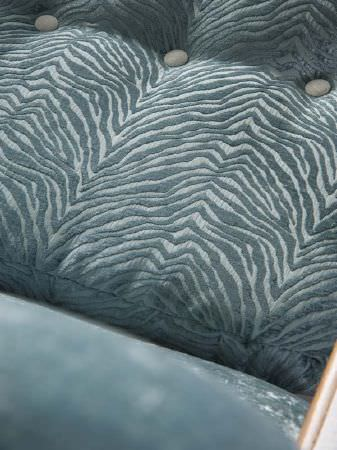 Fibre Naturelle -  Roma Fabric Collection - Blue velveteen fabric with a pale blue textured animal stripe seat cushion