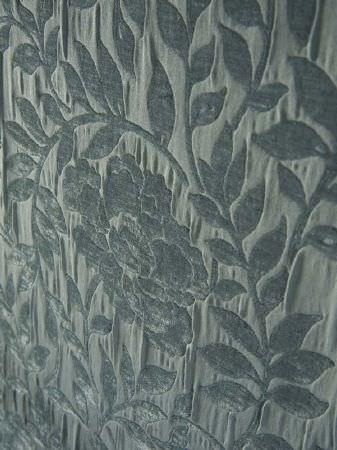 Fibre Naturelle -  Roma Fabric Collection - Blue-grey fabric with a large, textured floral design