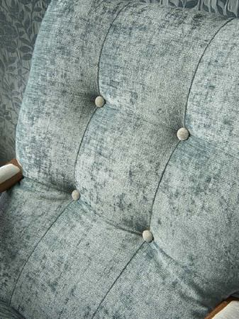 Fibre Naturelle -  Roma Fabric Collection - Cushioned seat back in pale blue with matching buttons