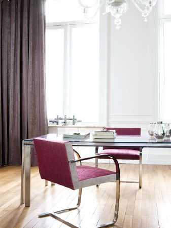 Fibre Naturelle -  Santa Cruz Fabric Collection - Metal and glass desk with two red fabric and metal chairs, and brown-grey curtains