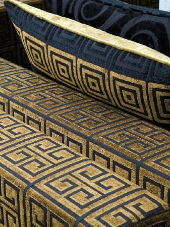 Fibre Naturelle -  Sienna Fabric Collection - Gold and black geometric design armrests and cushions