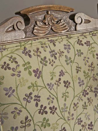Fibre Naturelle -  Tivoli Fabric Collection - Carved wooden seat with embroidered green and purple floral design on the backrest