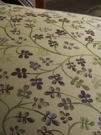 Fibre Naturelle -  Tivoli Fabric Collection - Pale green and purple embroidered fabric