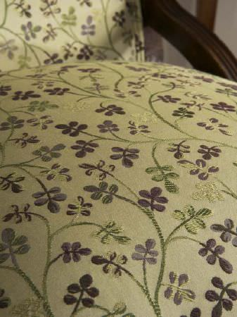 Fibre Naturelle -  Tivoli Fabric Collection - Seat of an embroidered floral purple and green chair