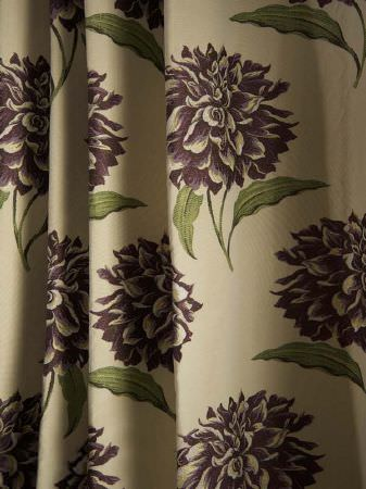 Fibre Naturelle -  Tivoli Fabric Collection - Cream fabric with a large, repeated green and purple hydrangea pattern