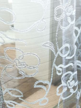 Fibre Naturelle -  Tranquility Fabric Collection - White floral design on almost transparent silver fabric