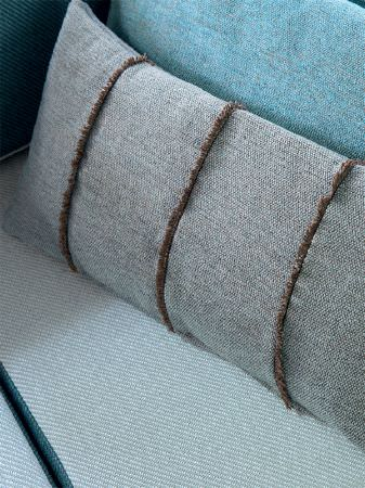 Fibre Naturelle -  Verona Fabric Collection - Rectangular pale blue cushion wrapped in brown twine, with blue and white diagonally striped and plain aqua fabrics