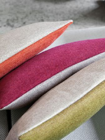 Fibre Naturelle -  Verona Fabric Collection - Double-sided cushions, each with one cream side and one side in either orange, pink or green