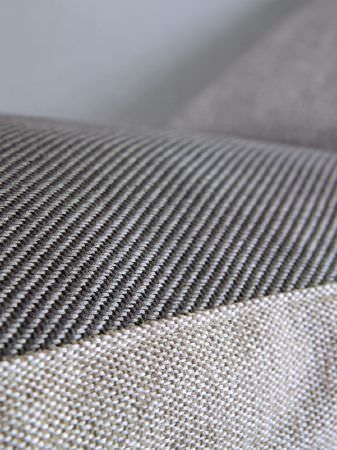 Fibre Naturelle -  Verona Fabric Collection - Plain pale grey fabric with fabric in narrow light and dark grey diagonal stripes